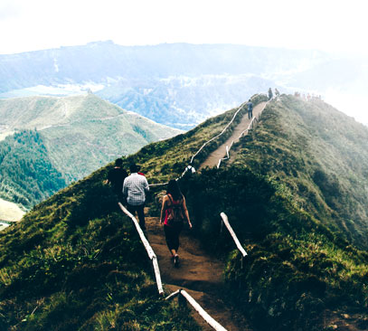 Couple hiking in azores