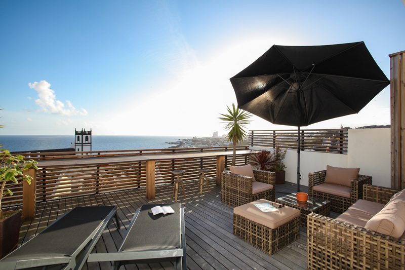 Private terrace to rest with ocean as backdrop